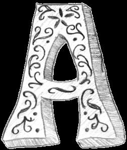 Sketch Letter A B&W